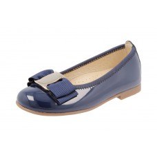 Andanines - Girls Navy Blue Patent Leather Pump With Pewter Bow Detail