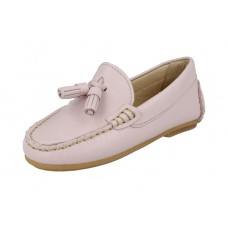 Andanines - Girls Baby Pink Leather Penny Loafer