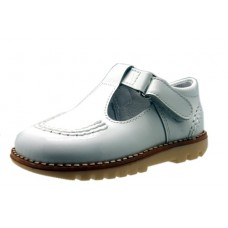 Andanines - Boys White Leather T.Bar Dress Sandal
