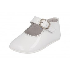 Andanines - Girls 'Charol' White Patent Leather Dress Pram Shoe