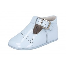 Andanines - Unisex 'Charol' Pale Blue Patent Leather Dress Pram Shoe