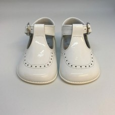 Andanines - Unisex 'Charol' White Patent Leather Dress Pram Shoe