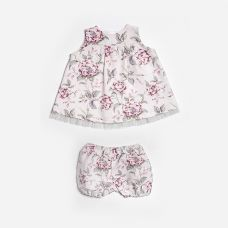 Floc BABY - Baby Girls Ivory Floral Linen & Cotton Blend Twinset Dress