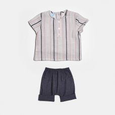 Floc BABY - Baby Boys Pastel Stripes Shirt & Navy Shorts Twinset
