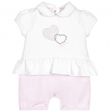 First - Baby Girls Pink & White Layered Shortie