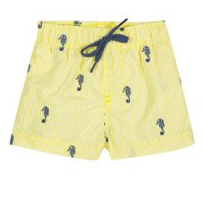 Tartine Et Chocolat - Boys Yellow Seersucker Surfer Shorts With Seahorses