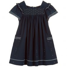 Tartine Et Chocolat - Girls Midnight Blue Dress With White Embroidery