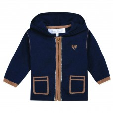 Tartine Et Chocolat Navy Hooded Cashmere Blend Cardigan