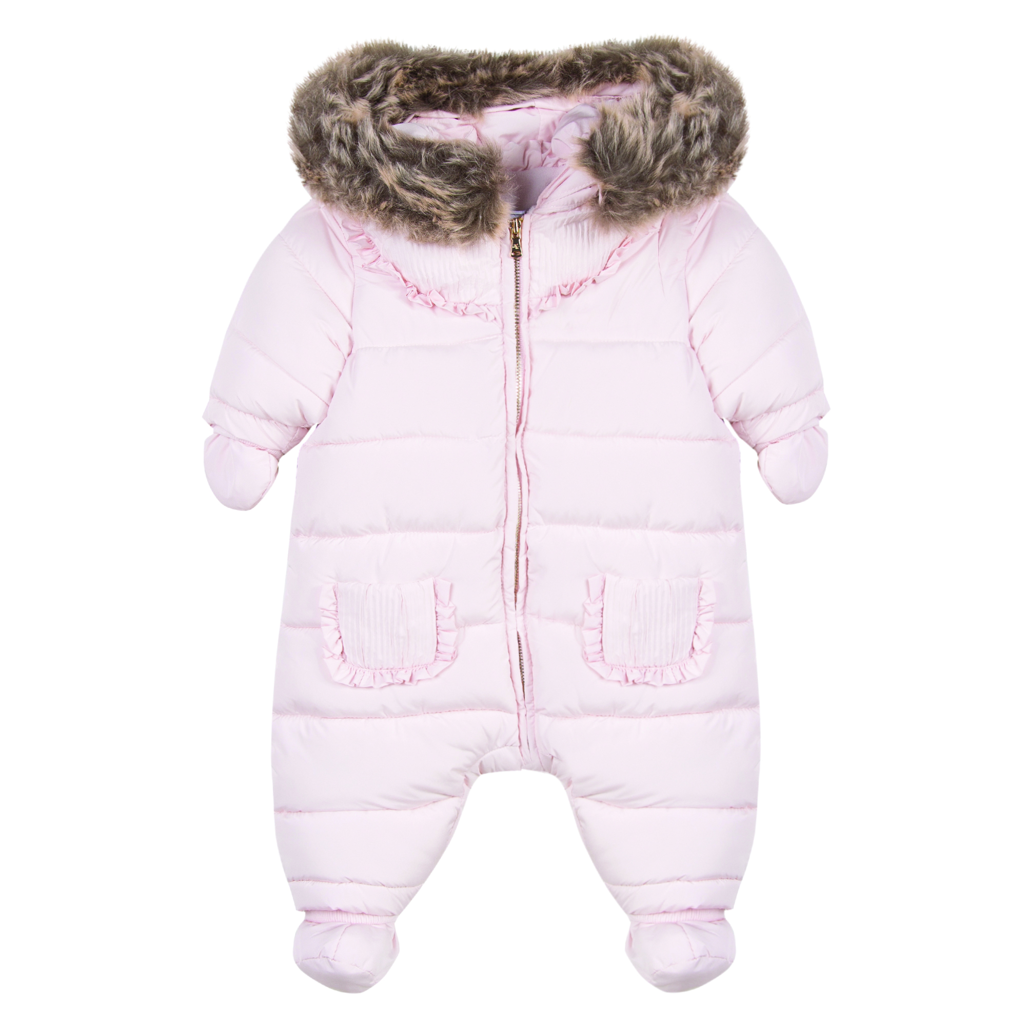 6460a1312 Tartine Et Chocolate Girl s Faux Fur Trim Pink Coat