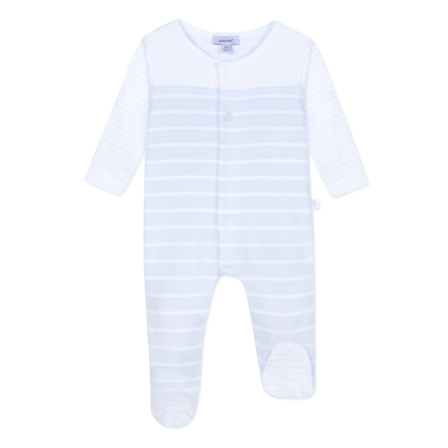 973c020e0 Absorba - Baby Boys White   Pale Blue Stripes Cotton Jersey All In One